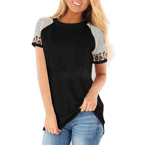 Striped Leopard Print Panel Short Sleeved T-shirt