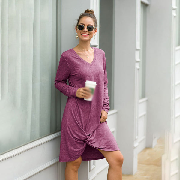 Women Knee-Length Dress Summer V-Neck Long Sleeve Solid Color Kink Fashion