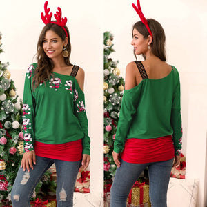 Women Lace Trim Stitching T-shirt Christmas Print Off-the-shoulder Tops