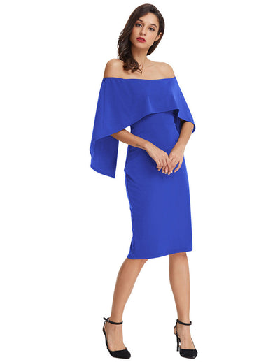 Sexy Sleeveless Off the Shoulder Drape Decorated Pencil Dress