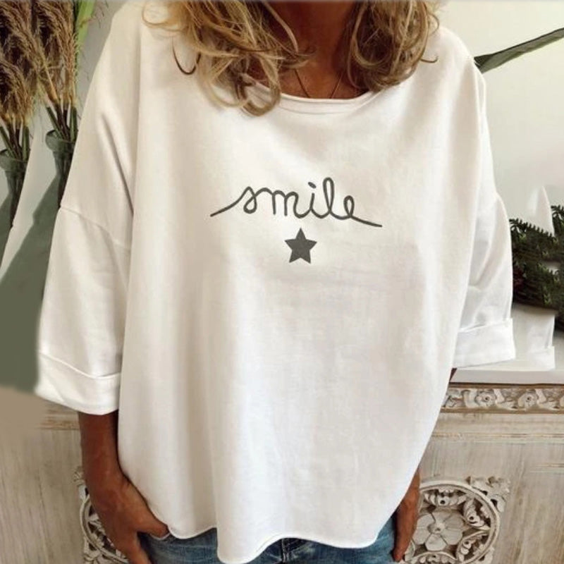 Solid Color Casual Printed Round Neck T-shirt