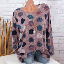 Load image into Gallery viewer, Round Neck Print Color Dot Long Sleeve T-Shirt