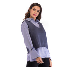 Load image into Gallery viewer, Women's Casual Loose V-Neck Vest Tops Long Sleeve Buttons Lapel Shirt Plus Size