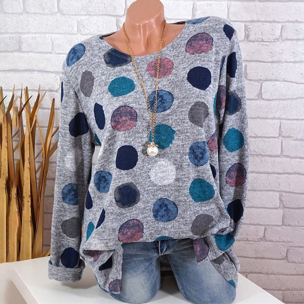 Round Neck Print Color Dot Long Sleeve T-Shirt - PRESALE