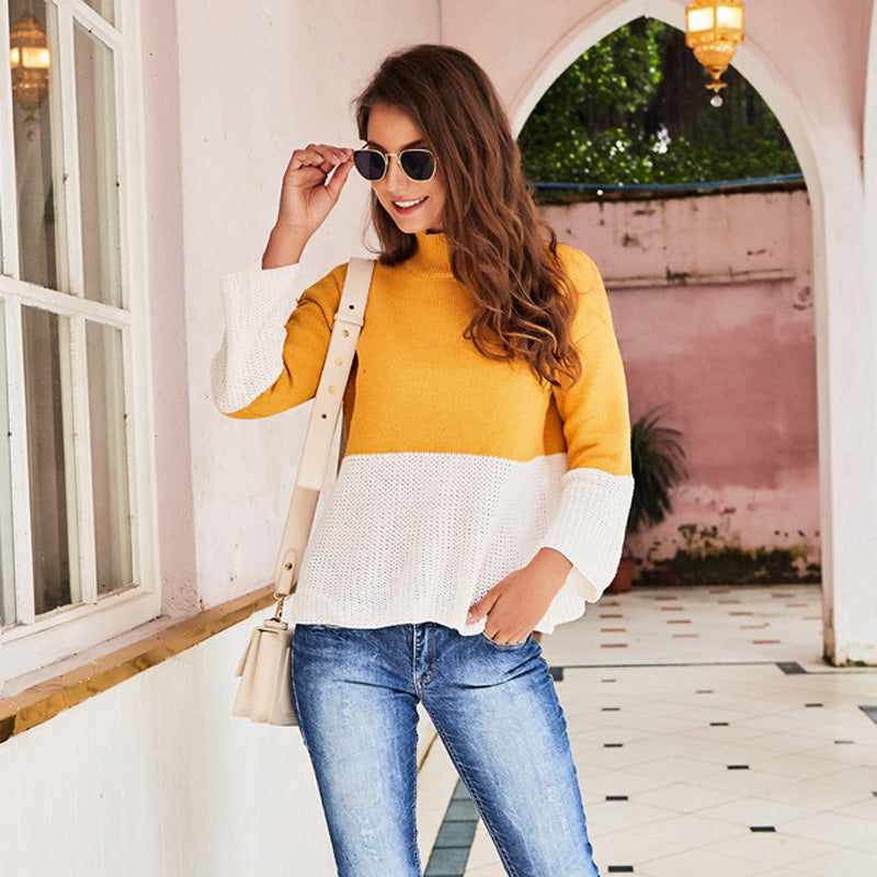 Women's Fashion Sweater High Collar Casual Long Sleeve Slim Knitting Tops