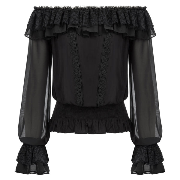 Curlbiuty Sexy Women's Long Sleeve Off Shoulder Ruffles Decorated Rayon Tops