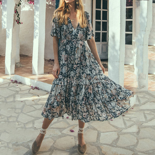 Bohemian Print Short Sleeve Midi Skirt