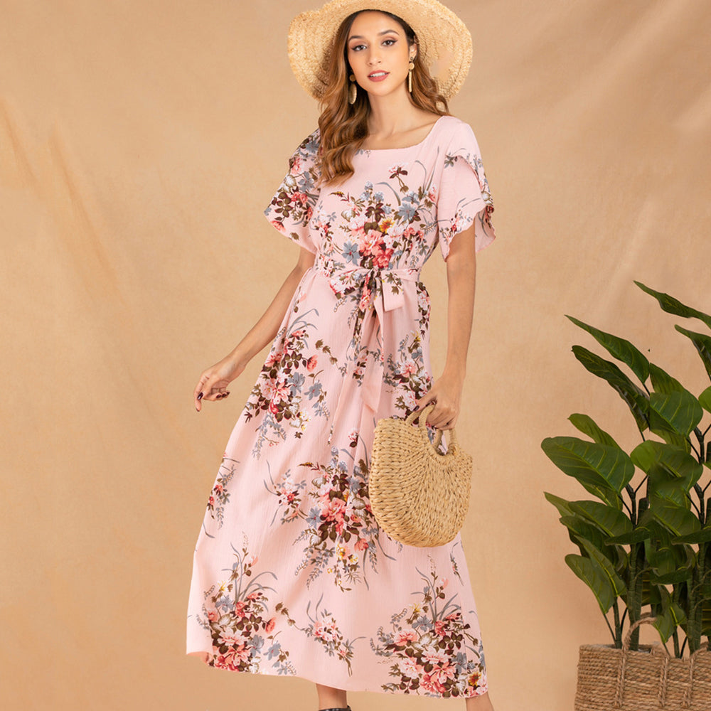 Women Ankle-Length Dress Summer Short Sleeve Floral Lace-Up Fashion Elegant
