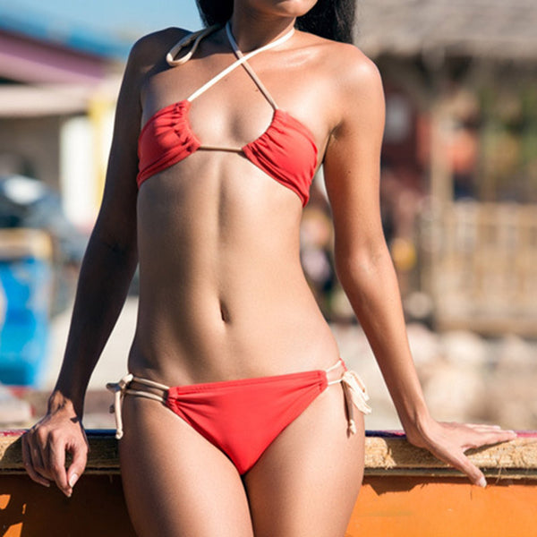 Solid Color Belted Low Waist Bikini - PRESALE