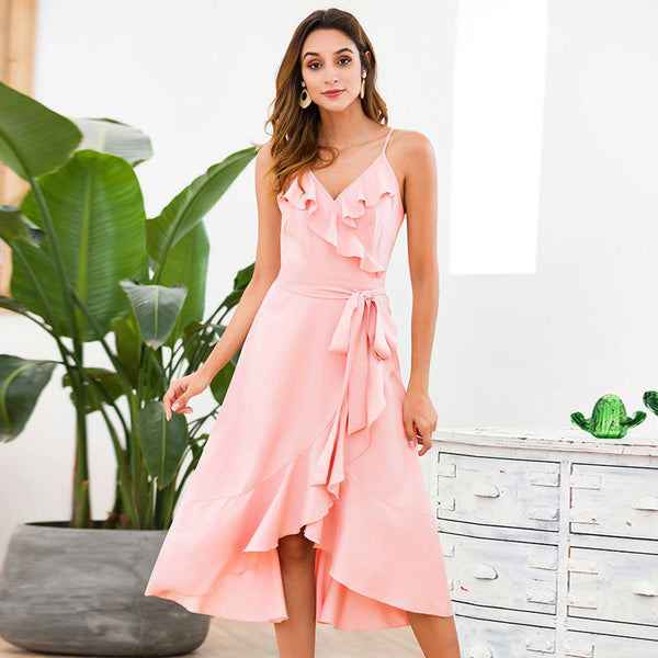 Women Summer V-Neck Sling Lace-Up Ruffled Pink Fashion Elegant New Dress