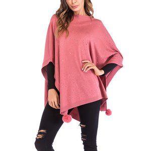Women's Batwing Sleeve Loose Shawl Cloak Cape Knitted Irregular Tops Plus Size