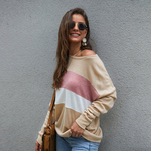 Women's Long Batwing Sleeve Tops Blouse -  Stripe, Three-Color Splice