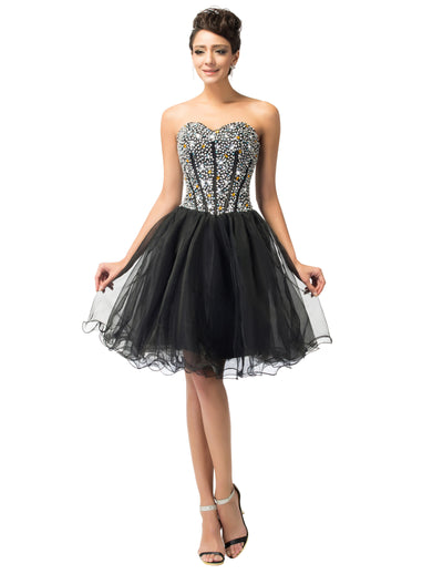 Strapless Beaded Sequined Short Bridesmaid Cocktail Dress