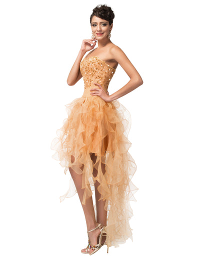 Golden Strapless High-Low Voile Sequins Evening Prom Dress
