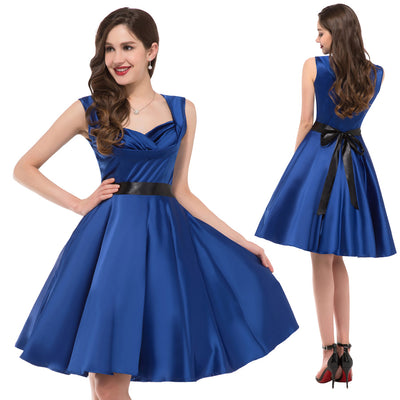 Stock Sleeveless V-Neck 1950's Retro Vintage Party Picnic Dress