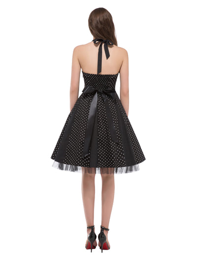 GK Stock Retro Vintage Halter Polka Dots Party Picnic Dress