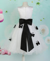 White Children Sleeveless Flower Girl's Dress with Fixed Sash & Flower