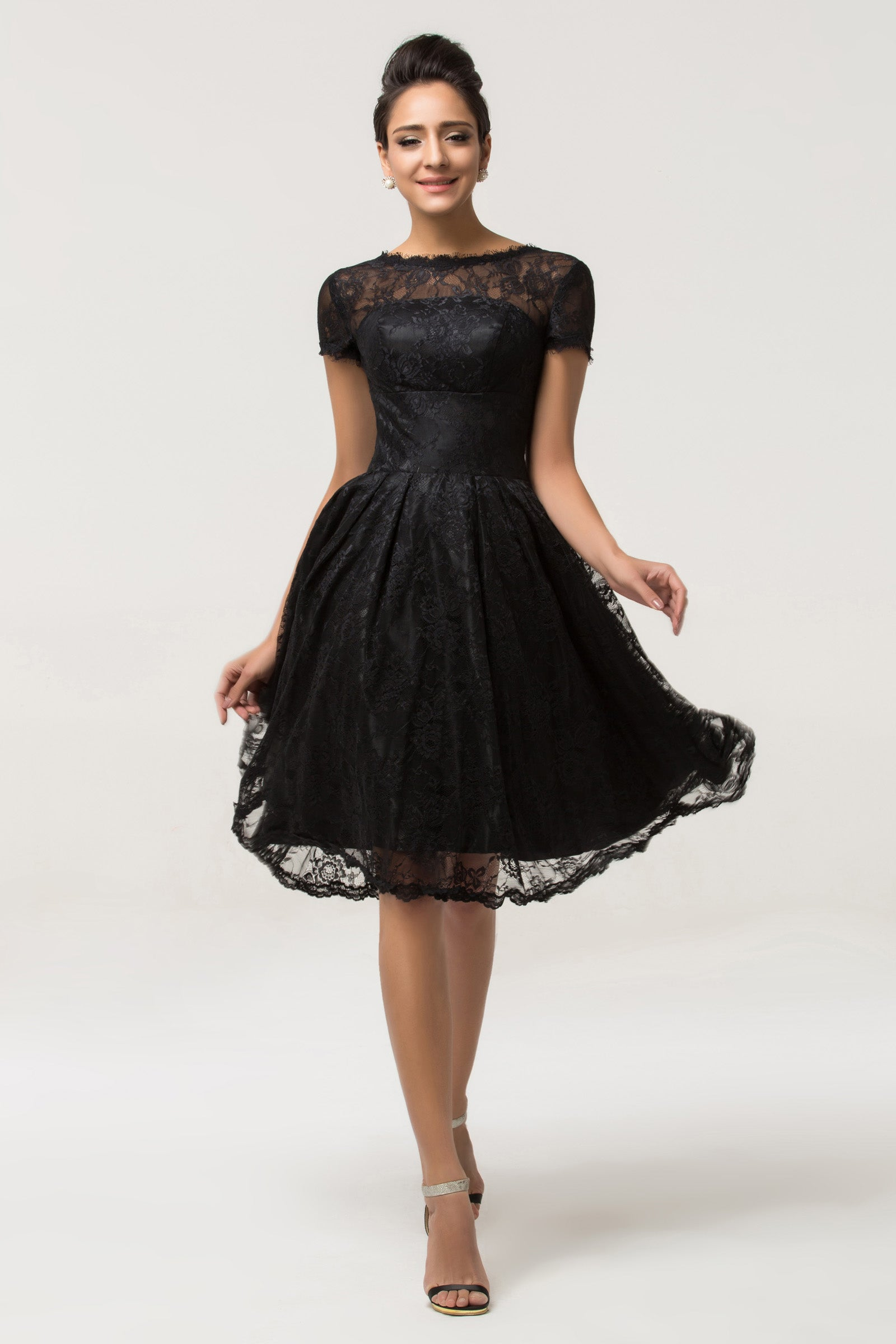 Grace Karin Black Short Sleeve Knee-Length Lace Cocktail Party Dress ...