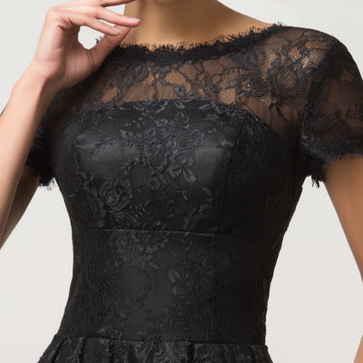 Black Lace Short Sleeve Knee-Length Cocktail Party Dress