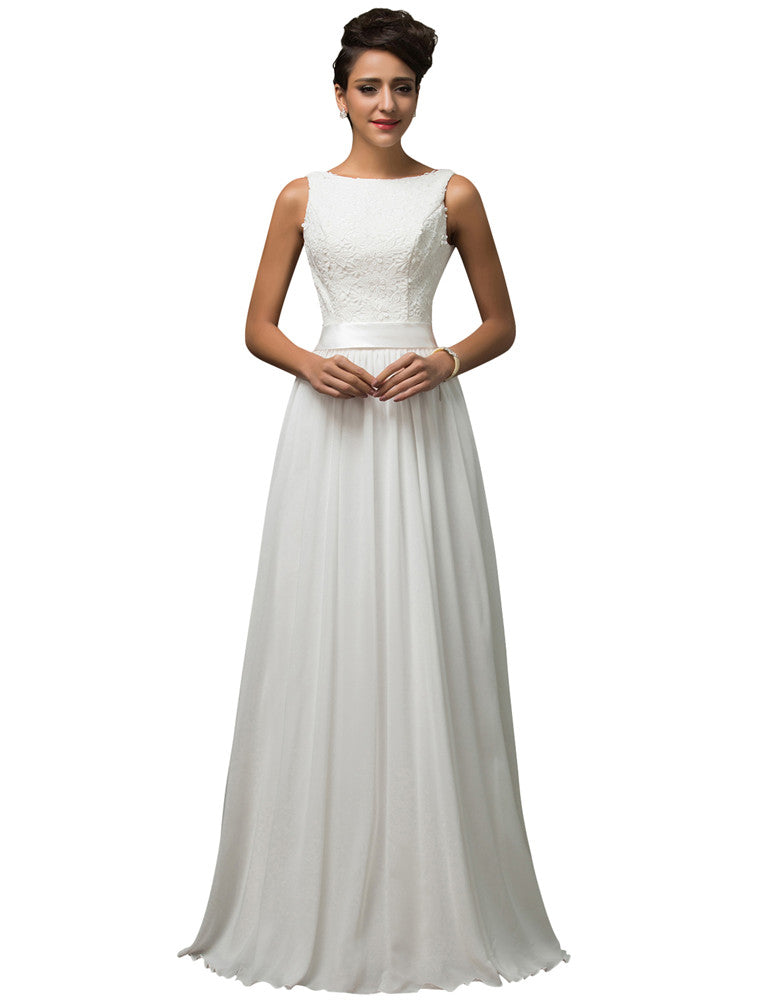 659268673bdd6c ... Grace Karin Women s White Gorgeous Floor-Length Ball Gown Sleeveless  Boat-Neck U-