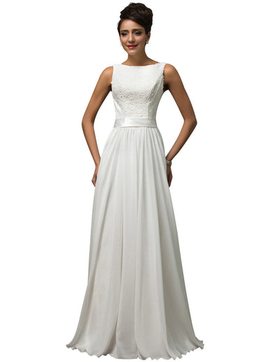 White Gorgeous Sleeveless U-Back Ball Gown Prom Evening Dress