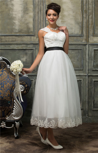 Grace Karin White Sleeveless Sweetheart Hollowed Back Wedding Party Mid-Long Bridesmaid Lace Formal Gown With Big Fixed Bow-knot at back