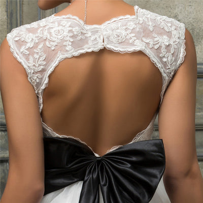 White Lace Sweetheart Hollowed Back Bridesmaid Wedding Dress