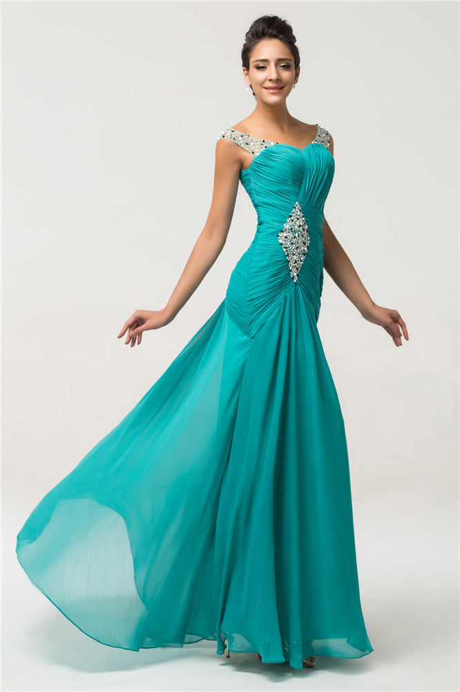 Grace Karin Dark Turquoise Sleeveless Sweetheart Ruched Bodice Evening Party Prom Dress With Sequins and Beadings Embellished