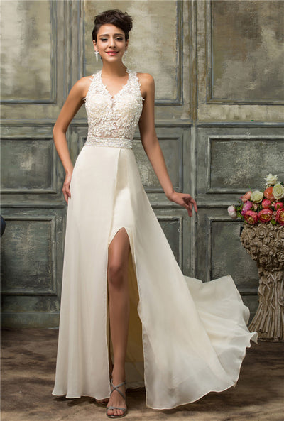 Grace Karin Beige Sleeveless Halter Design V-Neck Open Back Lace Top Ball Gown High Split Floor Length Chiffon Evening Prom Dress
