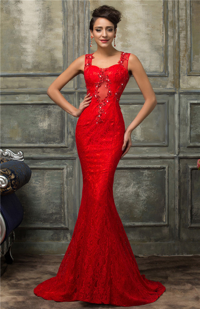 Grace Karin Sleeveless Mermaid Wedding Party Floor-Length Evening Dresses_Red