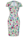 Women's Cap Sleeve Floral Print Retro Vintage Style Pencil Dress