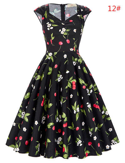 GK Stock Sleeveless V-Neck Flower/Polka Dots Pattern Cotton Retro Vintage Dress Party
