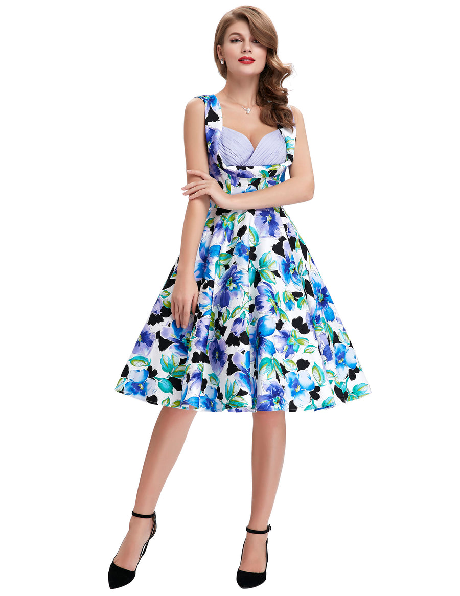 GRACE KARIN 1950s Retro Vintage Style Ladies Newest Design Sleeveless V-Neck Pleated Bodice Floral Pattern Knee-Length Dress
