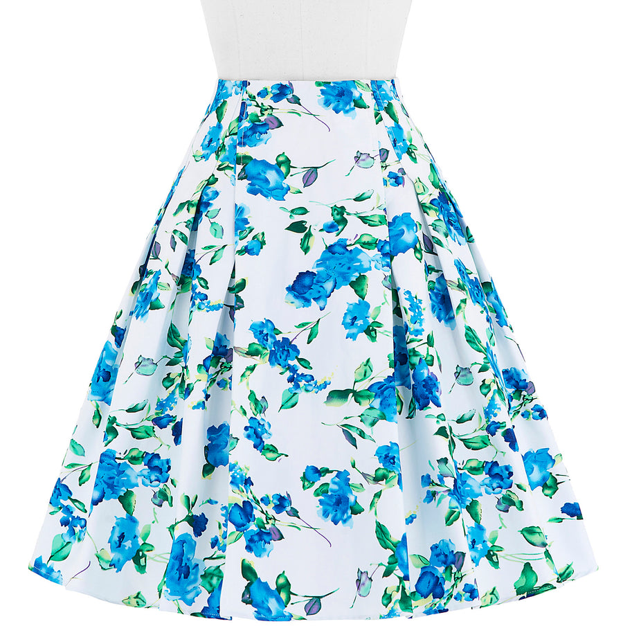 Floral Print Pattern Cotton Vintage Style Women's Skirt