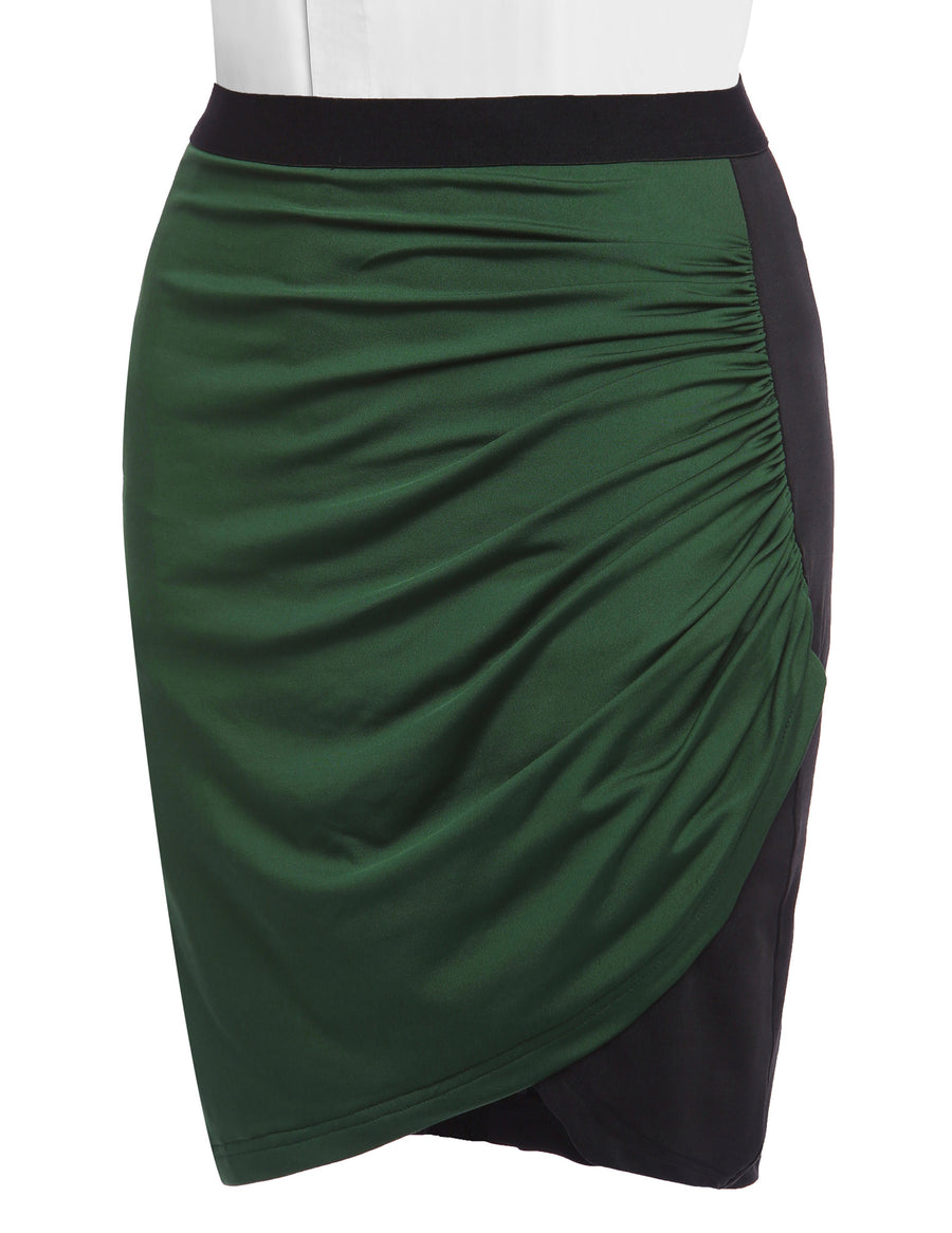 GRACE KARIN Occident Women's Dark Green and Black Splicing Short High Stretch Pleated Irregular Hips-Wrapped Pencil Skirt