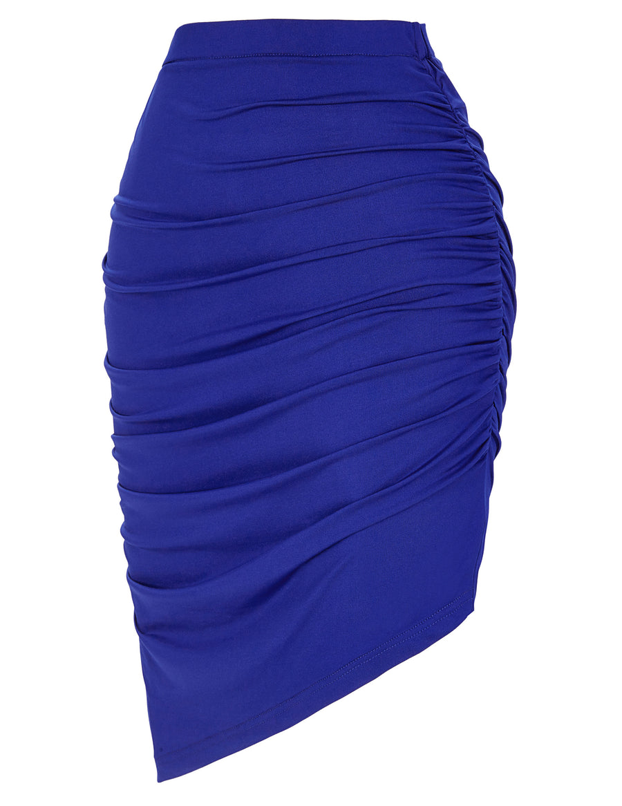 GRACE KARIN Occident Women's Solid Blue Color High Stretchy Irregular Pleated Pencil Skirt