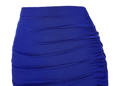 Solid Blue High Stretchy Irregular Pleated Cheap Pencil Skirt