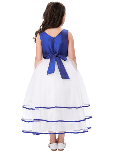 Pretty Pleated Bodice Tulle Netting Floor Length Flower Girl Dress