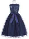 Tea Length Sleeveless Sequined Tulle Netting Flower Girl Dress