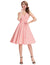Sleeveless Double V-Neck Vintage Party Picnic Dress with Belt