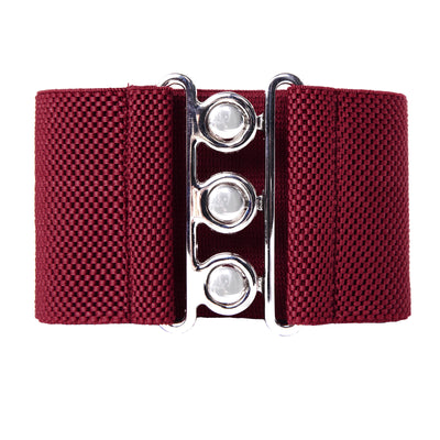Wide Stretchy Waist Belt With Silver Hook Buckle