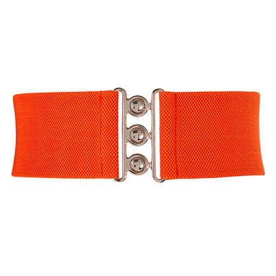 Grace Karin Wide Stretchy Buckle Waist Belt With Polyester Fabric_Orange