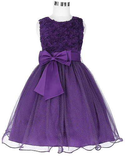 Grace Karin Round Neck Sleeveless Tulle Flower Girl Dress With Belt / Flowers_Purple