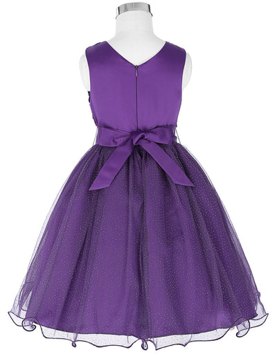 Sleeveless V-Back Tulle Flower Girl Dress With Belt & Flowers