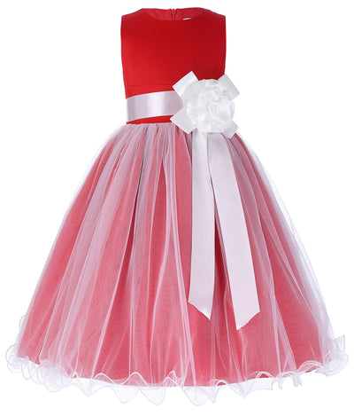 Grace Karin Tea Length Round Neck Multi Layers Flower Girl Dress With Fixed Flower / Waistband / Sleeveless_Red