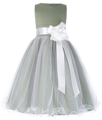 Grace Karin Tea Length Round Neck Multi Layers Flower Girl Dress With Fixed Flower / Waistband / Sleeveless_Grey