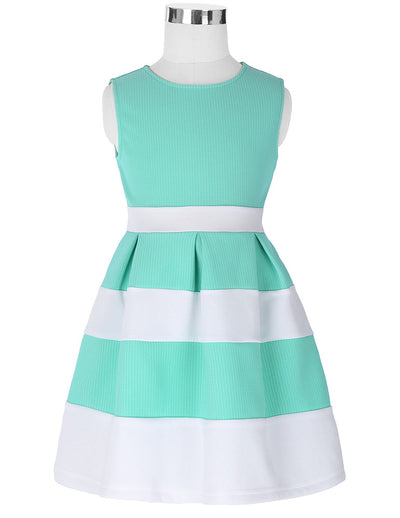 Grace Karin A Lin Round Neck Sleeveless Contrast Color Flower Girl Dress_Aquamarine