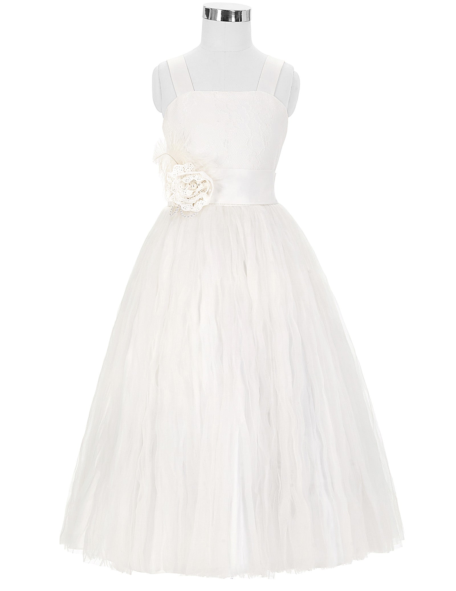 Grace Karin Straight Neck Princess Lace Flower Girl Dress With Flower