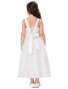 White and Champagne Soft Tulle Netting Princess Flower Girl Dress