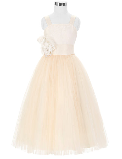 Grace Karin Straight Neck Princess Lace Soft Tulle Netting Flower Girl Dress With Flower_Champagne
